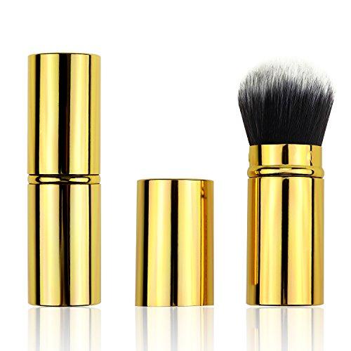 Pennello per trucco Spazzola per arrossire oro/pendenza/rosa/nero retrattile Spazzola per polvere minerale fondente Kabuki morbida (oro)