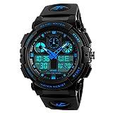 Amstt Unisex Sportuhr Digital Uhr Herren Damen Jungen Armbanduhr Militär Uhren kinderuhren digitaluhr mit Schrittzähler Licht Wecker 5ATM Wasserdichten Outdoor Analog Digital Stoppuhr-Blau
