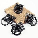 OneTigris 4 Stück 360° Drehung Multipurpose/Mehrzweck Kunststoff D-Ring Schnalle Grimloc Molle Gurtband Befestigung Rucksäcke EDC (Schwarz)