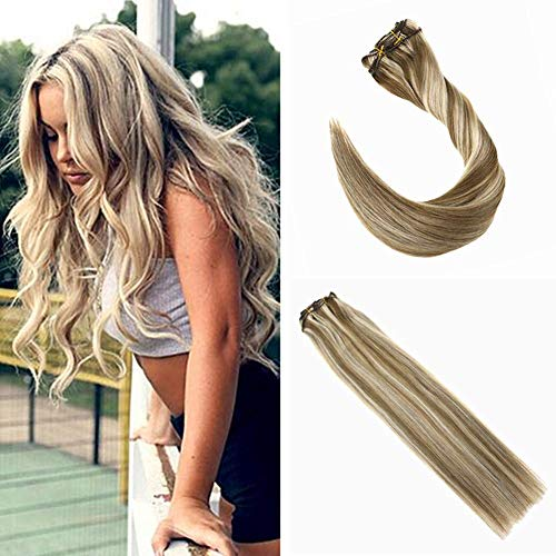 Ugeat 55cm Clip in Echthaar Extensions Braun Gesträhnt Blond Doppelt Tressen Voller Kopf Haarverlängerung Clips Echthaar #10/613 7pcs/120g