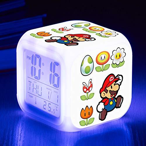 piaolinglifang store LED quadratischer Kleiner Wecker Sieben Farblichter mit Temperaturanzeigen-Weckfunktion Wecker-Animationsspiel-Peripheriewecker m001-251