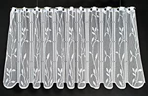 Rideaux brise-bise ombre romaine laisse Ranke 60 cm de haut | Vous pouvez choisir la largeur des rideaux par paliers de 14,5 cm | Colour: blanc | Rideaux cuisine