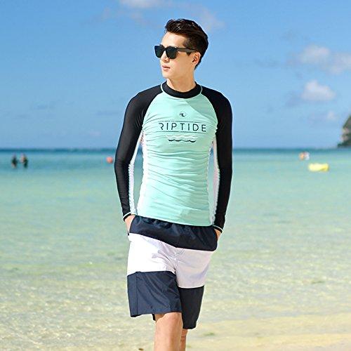 Shirt Schwimmen Mädchen Langarm (Neoprenanzüge Mädchen sunscreen Badeanzug Mädchen Langarm Shirt tauchen Anzüge Paare split's Surf Kleidung Männer schwimmen, XL, 18001 Männer verpackt)