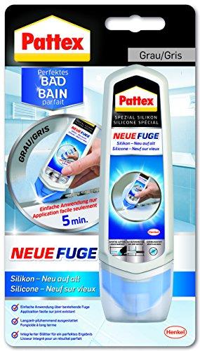 Pattex PN12G Fuge - Silikon neu auf alt/Fugenmasse komfortabel und sauber in einem Arbeitsgang/1 x 100 ml, Grau