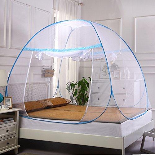Moskitonetz Zelt Bett Baldachin Pop Up Faltbare doppelte Tür anti Mosquito Bites für Innen Außenbereich (Zelt Innen Pop-up)