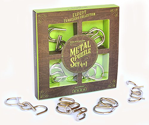 LOGICA GIOCHI Set DE Metal 4 EN 1 - Rompecabezas de Metal – Set de Puzzles Inteligentes - Alta dificultad