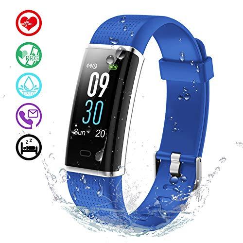 KALINCO Aktivitätstracker Fitness Armband mit Pulsmesser 0,96 Zoll Farbbildschirm Fitness Tracker Pulsuhren Schrittzähler Schlafmonitor für Damen Herren 14 Trainingsmodi