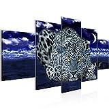 Bilder Afrika Leopard Wandbild 200 x 100 cm Vlies - Leinwand Bild XXL Format Wandbilder Wohnzimmer Wohnung Deko Kunstdrucke Blau 5 Teilig -100% MADE IN GERMANY - Fertig zum Aufhängen 000351c