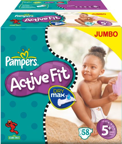 Pampers Active Fit Windeln Gr.5+ Junior Plus 13-27kg Jumbo, 2er Pack (2 x 58 Stück)