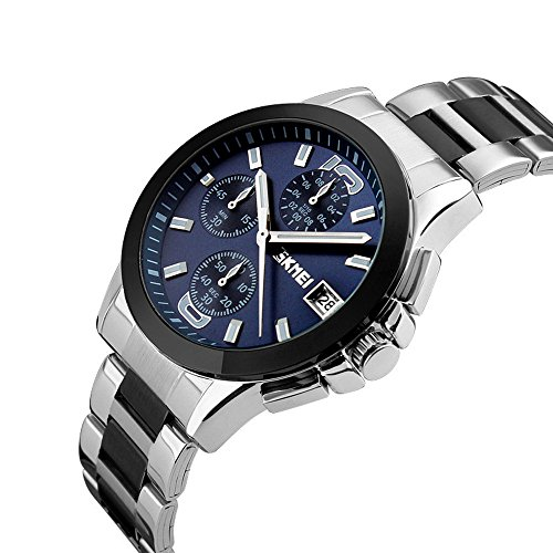 Randon Luxury Classic Design Analog Quartz Business Watches with Calendar Stainless steel Strap Wristwatch