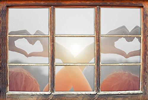 Stil.Zeit Zwei Mädchen Zeigen Herzmotiv bei Sonnenuntergang B&W Detail Fenster im 3D-Look, Wand- oder Türaufkleber Format: 62x42cm, Wandsticker, Wandtattoo, Wanddekoration
