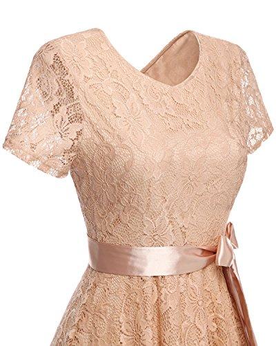 Bridesmay Damen kurz Spitzenkleid Brautjungfernkleid kurzarm Elegant Partykleid Champagne