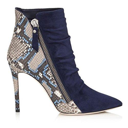 Stivaletti impermeabili della caviglia dell'alto tallone della signora Autunno Inverno Booties Stivaletti a caviglia rivettati Caricamenti del posto di lavoro Stivali pieghe alla caviglia Pelle 8006FD BLUE-38