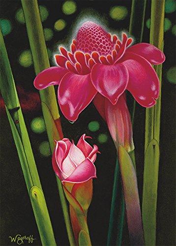 Pacifica Island Art Set von 12Hawaiian Grußkarten-Taschenlampe Ginger von N. Robert Wagstaff-Mitgefühl -