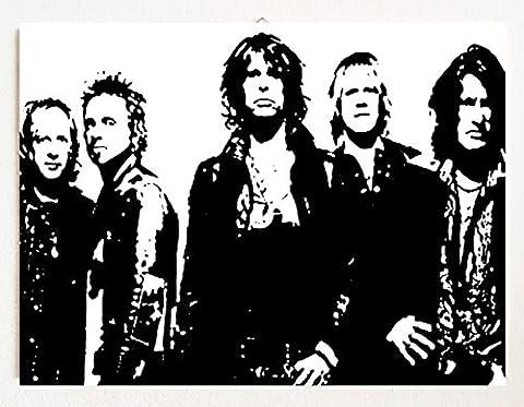 Aerosmith–Peinture moderne–Style Pop Art–peint à la main par l'artiste Saint-Marin)–Prêt à accrocher–Fait Main 100% Résolution -, 18 X 12 INCHES