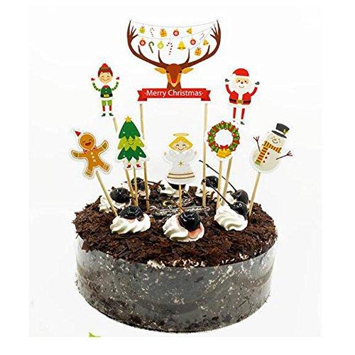 Blume Santa Claus und Deer Cake Toppers Cartoon Design für Weihnachten Party Dekoration ()