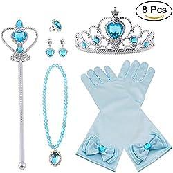 Vicloon 8pcs Princesse Dress Up Accessoires Filles Diadème Varita Magie Collier Boucles d'oreilles Anneau Gants pour Cosplay Carnaval Fête d'anniversaire (Bleu)