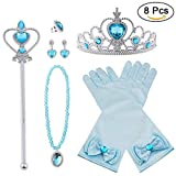 Vicloon Princess Dress Up Accessoires 4 Pcs Cadeau Set Couronne Beauté Sceptre Collier Gants pour Fille (Bleu)