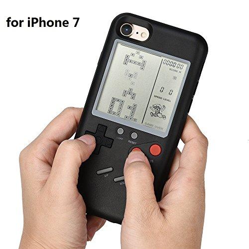 Funda para iPhone7/7 Plus de Prevently con diseño de Game Boy resistente a las caídas, se puede jugar a varios juegos, hecha de plástico ABS de alta calidad, A
