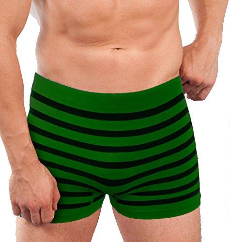 2 Stück eng anliegende Boxershort mit Ringel nahtlos Seamless in einem Stück ohne Nähte produziert Grösse S/M oder L/XL Grün/Marine