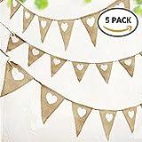 Guirlandes Mariage en Toile Vintage Bannière de Jute Rustique Triangle Flags en Toile Vintage Motif Coeur Blanc pour la Fête de Mariage Décorations d'Anniversaire (5 PCS)