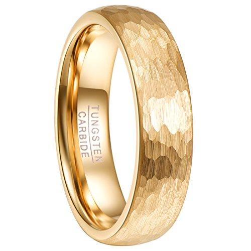 Ring Damen gold galvanisiert, Frauenring aus Wolframcarbid, gewölbt Style 6mm breit, Ring für Hochzeit, Partnerschaft, Freundschaft und Alltag, 1x Schmuckbox verschenkt, Größe 59