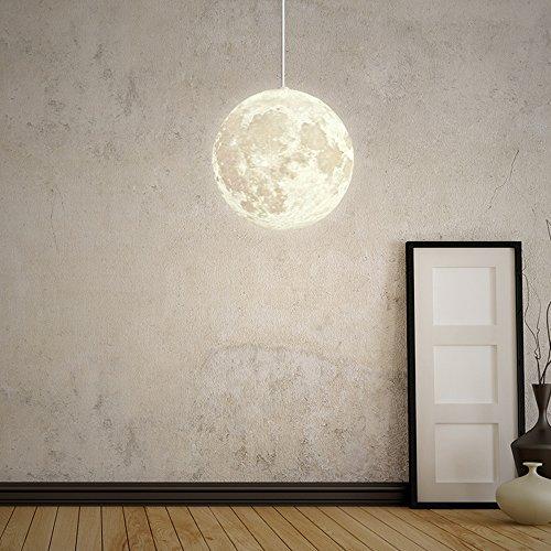 W-Brillight Suspension lune en PLA, éclairage 1 ampoule 40 W E27 LED, diamètre boule 20 cm (Ampoule incluse)