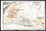 ThePrintsCollector de mapamundi antiguo-España-Plan de El Escorial-Madrid-Karl baedeker-1913