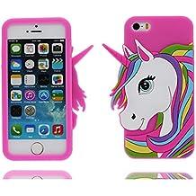 iPhone 5 Custodia, Copertura Premium TPU Nuovo design durevole Prezzo basso in iPhone 5S case 3D Unicorno per iPhone 5 5s SE 5C 5G ( rosa 2 )