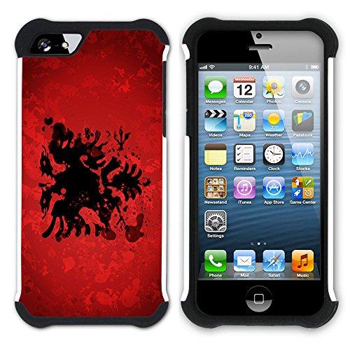 Graphic4You Albanien Albanisch Flagge Hart + Weiche Kratzfeste Hülle Case Schale Tasche Schutzhülle für Apple iPhone SE / 5 / 5S Design #5