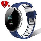 Lintelek Smartwatch Sport Fitness Uhr HR Fitness Tracker mit Touchscreen Aktivitäts-Tracker Herzfrequenz Schrittzähler Sport Uhr Fitnessuhr Armbanduhr Withings Steel Uhrenarmband