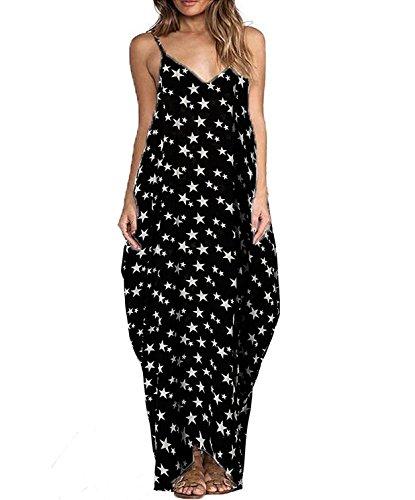 Yidarton Sommerkleid Damen V-Ausschnitt Ärmellos Strandkleider Boho Casual Lang Maxikleid Cocktail Beachwear (Small, Star) (Star Print Dress)