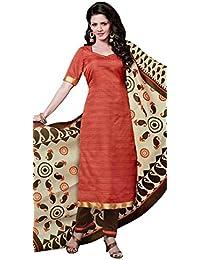 Exotic Orange Bhagalpuri Silk Straight Suit With Dupatta.