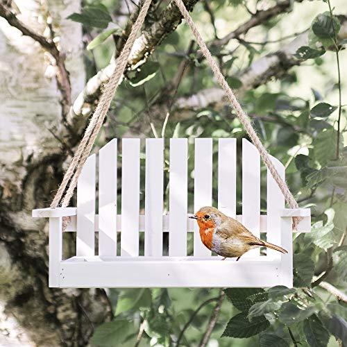 Garden mile Weiß Shabby Chic Garten Bank Schaukelsitz Futterstelle Für Vögel Garten Deko Vogel Futterstation Samen Mutter Rindernierenfett Garten vogel Zubringer Futterstelle für Vögel Station - Für Vögel Die Samen