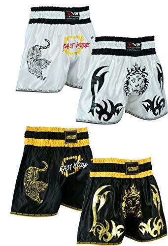 EVO Fitness Muay-Thai Shorts Mädchen MMA Kickboxen Kampfsport Kampf-ausrüstung - Schwarz & Orange, Large -