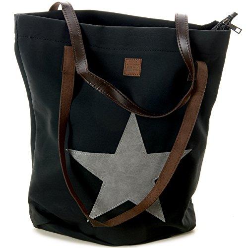 Schultertasche mit aufgenähtem STERN Shopping Bag Vintage Tasche Shopper mit Henkel Handtasche TOP TREND (Schwarz mit grauem Stern)