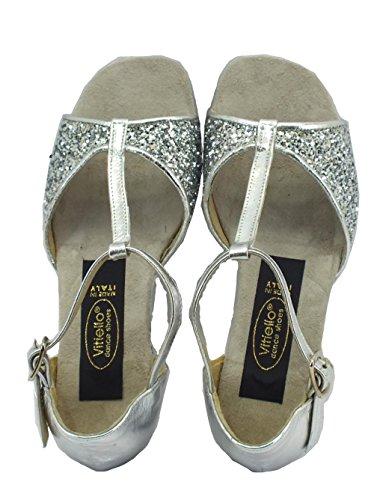 Scarpe da ballo per bambina latino americano in capretto e cristallo colore argento Argento