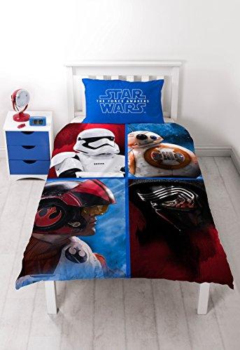 Character World Star Wars - The Force Awakens Set Copripiumino Reversibile e Copricuscino, Cotone/Poliestere, Multicolore, 135 x 200 cm