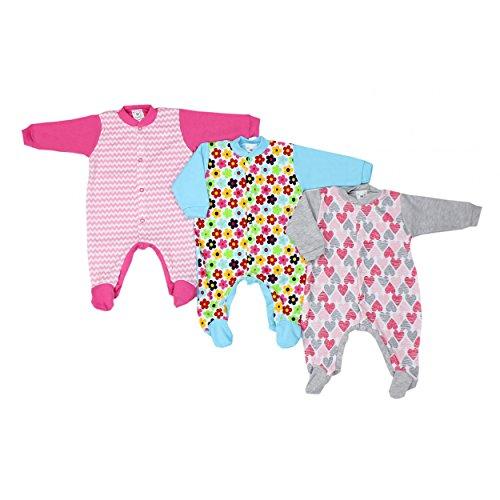 Baby Schlafstrampler Mädchen Schlafanzug 100% Baumwolle Jungen Schlafoverall im 3er PACK, Farbe: Mädchen, Größe: 74