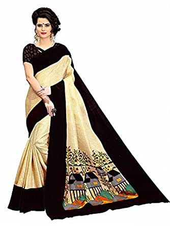 SAREES FOR WOMEN Latest design for Party Wear Buy in Today Offer in LOW PRICE Sale, Free Size Ladies Sari, Fancy Material Latest Sarees, Designer Beautiful Bollywood Sarees, sarees For Women Party Wear Offer Designer Sarees, saree With Blouse Piece, New Collection sari, Sarees For Womens, New Party Wear Sarees, Women's Clothing Saree Collection in Multi-Coloured For Women Party Wear, Wedding, Casual sarees Offer Latest Design Wear Sarees With Blouse Piece (Black & Beige)