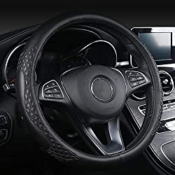"""Leather Car Steering Wheel Cover Universal Fit 37-39CM/15"""" Breathable Anti-slip Wheel Sleeve Protector for Auto/Truck/SUV/Van (Black)"""