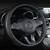 """Leather Car Steering Wheel Cover Universal Fit 37-39CM/15"""" Breathable Anti-slip Wheel Sleeve Protector"""