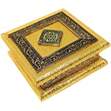 GiftNagri Wood Handcrafted Traditional Dry Fruit Box/Chocolate Box (Multi_6 Inch X 6 Inch X 2.5 Inch), Rectangular, Multicolo