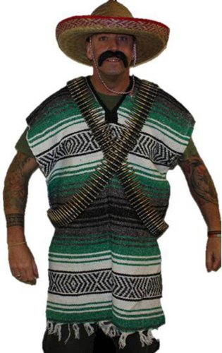 Black Mexican grün & Gringo Fancy Dress Bandit (Black Kostüm Bandit)