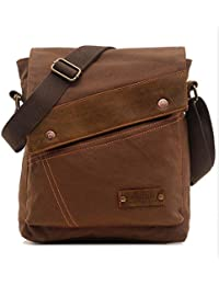 Tradico® Men's Boy's Canvas Leather Messenger Bag Shoulder Satchel Sling Pack Coffee