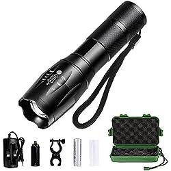 Linterna LED, Linterna Foco Ajustable y Potente Iluminación de 5 Modos, Intensidad Súper Brillante (Plata)