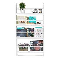 HOMFA Children Wall Bookcase Kids Wooden Book Display Stand Organizer(White)