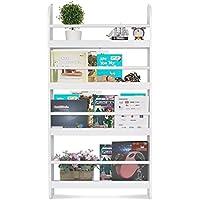 Homfa Estantería de Pared Estantería Infantil para Libros, Revistas y Prensas con 4 Estantes Librería Infantil de Dormitorio 59x12x113cm Blanco