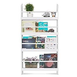 HOMFA Libreria Bambini da Muro Bianco, Scaffale Porta Libri da Parete 4 Ripiani in Legno 59 × 12 × 113cm