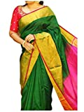 FASHION FLOWERZ Women's Silk Saree with Blouse Piece (Flofash-20_Green_Free Size)